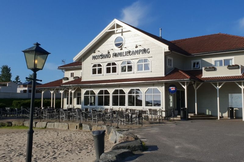 Moysand Familiecamping Grimstad restaurant en terras
