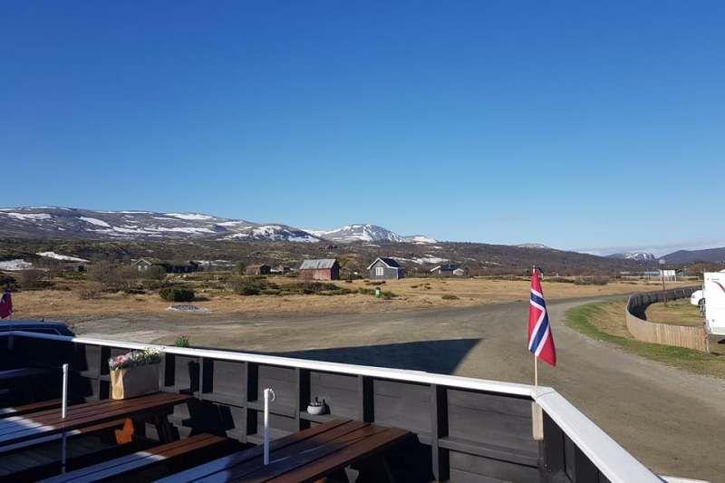 PlusCamp Hageseter Turisthytte og Camping terras bij het restaurant