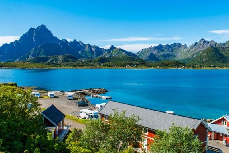 Sandvika Fjord og Sjohus Camping uitzicht vanuit je vakantiehuise